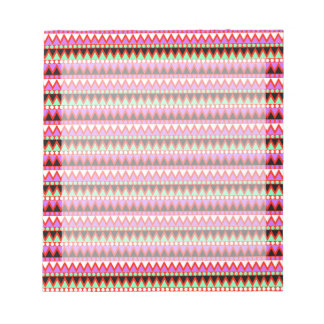 Hot Pink Red Mint and Black Tribal Style Pattern Notepad