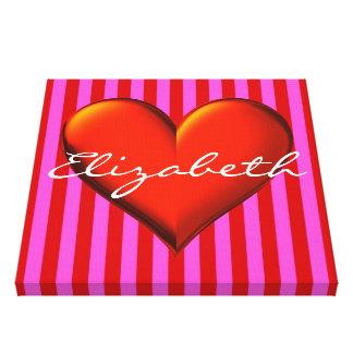Hot Pink Red Stripe Red Metallic Heart Monogram Canvas Print