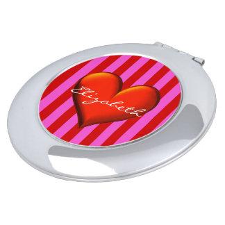 Hot Pink, Red Stripes, Red Metallic Heart Monogram Vanity Mirror