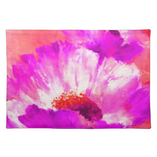 Hot Pink & Red Watercolor Flowers Placemat