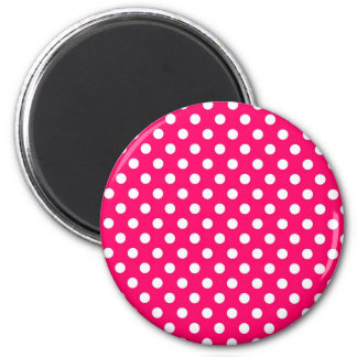 Hot Pink Retro Polka Dots Pattern Magnet