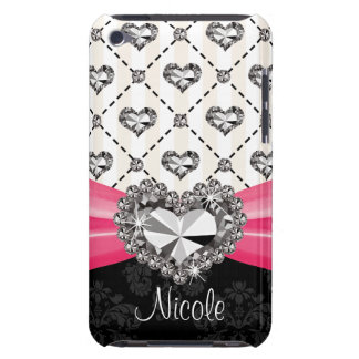 Hot Pink Rhinestone Heart iPod Touch 4 Case Mate