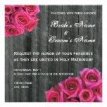 Hot Pink Rose and Barnwood Wedding Invitation