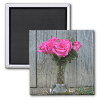 Hot Pink Rose Bouquet At The Barn Magnet