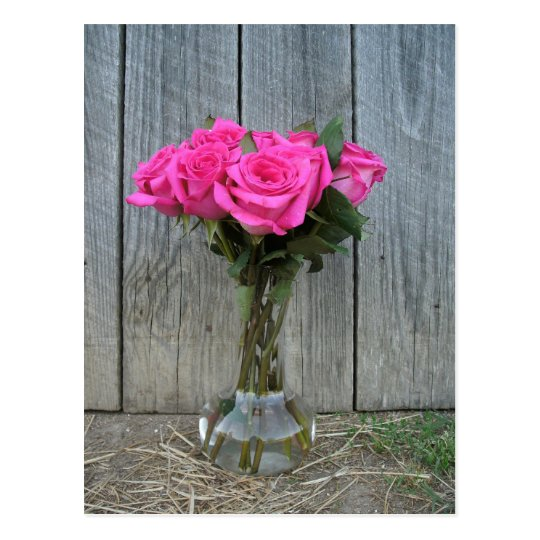 Hot Pink Rose Bouquet At The Barn Postcard