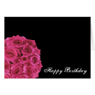 Hot Pink Rose Bouquet Birthday Card