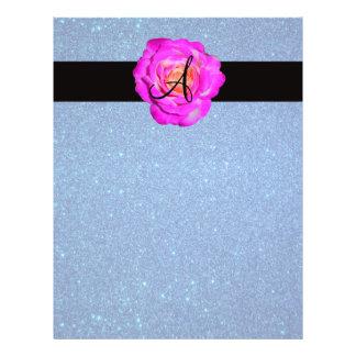 Hot pink rose monogram blue glitter flyer design