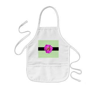Hot pink rose monogram green polka dots apron