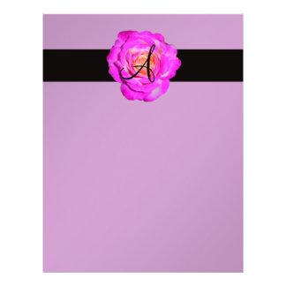 Hot pink rose monogram purple 21.5 cm x 28 cm flyer