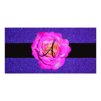 Hot pink rose monogram purple glitter photo card