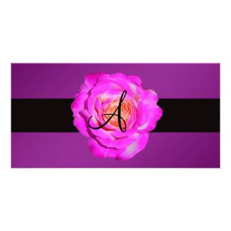 Hot pink rose monogram purple custom photo card