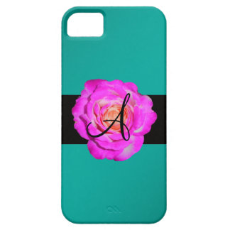 Hot pink rose monogram turquoise iPhone 5 cases
