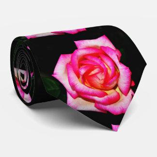 Hot Pink Rose on Black Tie