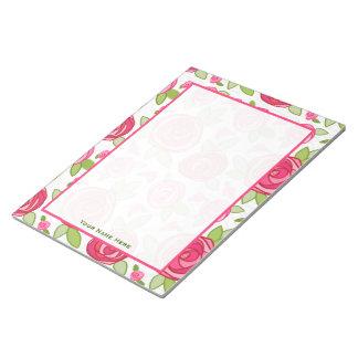 Hot Pink Rose Pattern Notepad