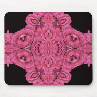 Hot Pink Roses Black Mouse Pad