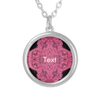 Hot Pink Roses Black Round Pendant Necklace