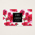 Hot Pink Roses Floral Modern Business Card