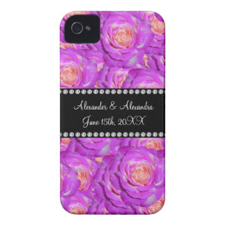 Hot pink roses wedding favors Case-Mate iPhone 4 cases