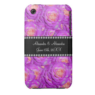 Hot pink roses wedding favors iPhone 3 case