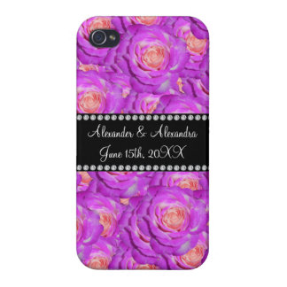 Hot pink roses wedding favors iPhone 4 cover