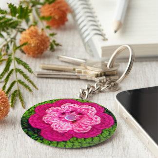 Hot Pink Rosy Flower Green Crochet Print on Key Ring