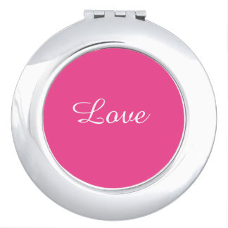 "Hot Pink Round Compact Mirror with ""Love"" on it"