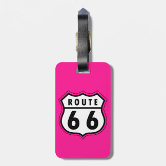 Hot Pink Route 66 road sign Luggage Tag