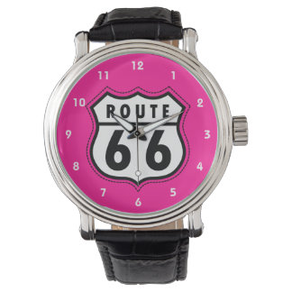 Hot Pink Route 66 road sign Watch