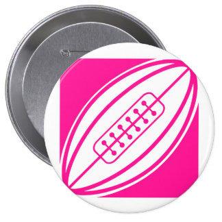 Hot Pink Rugby Pinback Button