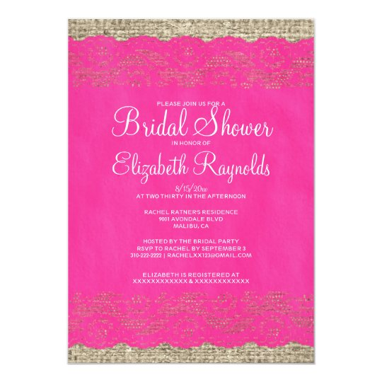 Hot Pink Rustic Lace Bridal Shower Invitations