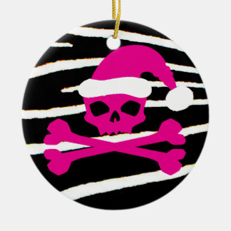Hot Pink Santa Skull Christmas Ornament