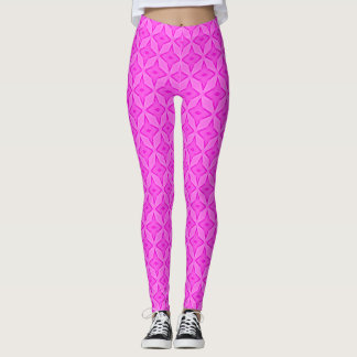 Hot Pink Satin Pastel Stars Leggings