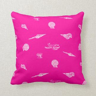 Hot Pink Seashells and Starfish Pillow Cushions