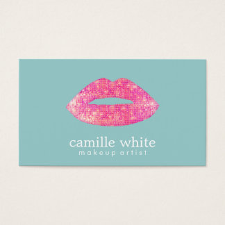 Hot Pink Sequin Lips Beauty Salon Cute  Teal Business Card