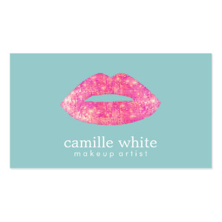 Hot Pink Sequin  Lips Beauty Salon Cute  Teal Pack Of Standard Business Cards