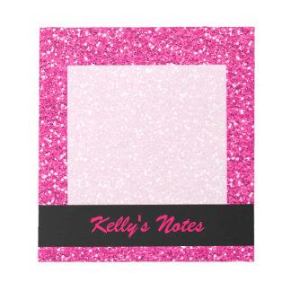Hot Pink Shimmer Glitter Notepad