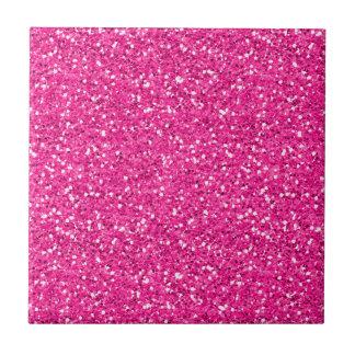 Hot Pink Shimmer Glitter Small Square Tile