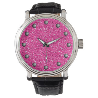 Hot Pink Shimmer Glitter Watch