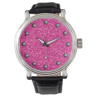 Hot Pink Shimmer Glitter Wristwatch