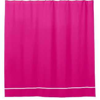 Hot Pink shower curtain with white line border