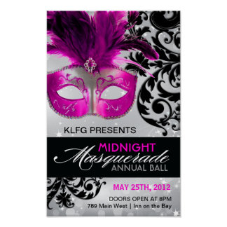 Hot Pink, Silver and Black Masquerade Ball Poster
