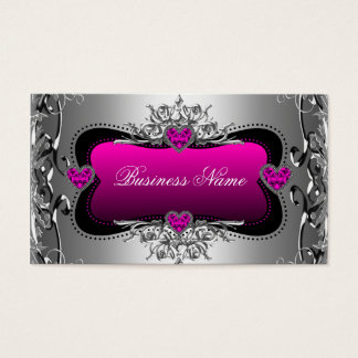 Hot Pink Silver Diamond Image Hearts Elegant Business Card