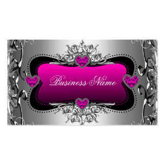 Hot Pink Silver Diamond Image Hearts Elegant Pack Of Standard Business Cards