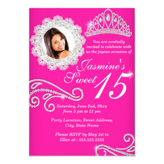 Hot Pink Silver Diamond Tiara Photo Quinceanera 13 Cm X 18 Cm Invitation Card