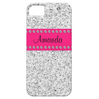 Hot Pink & Silver Glitter BLING iPhone 5 case