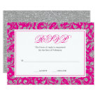 Hot Pink Silver Glitter Swirl Damask RSVP Card