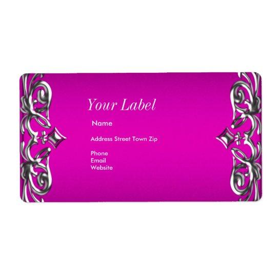 Hot Pink Silver Label Address