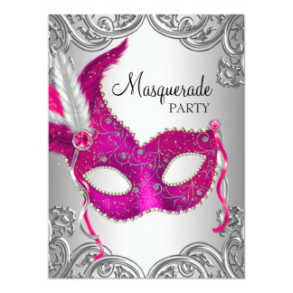 Hot Pink Silver Mask Masquerade Ball Party Card
