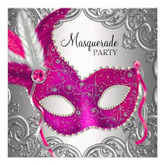 Hot Pink Silver Mask Masquerade Ball Party Invitations