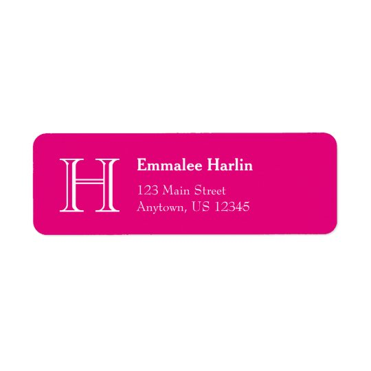 Hot Pink Simple Monogram Return Address Labels